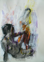 Female Nudes, Purple & Orange I.
